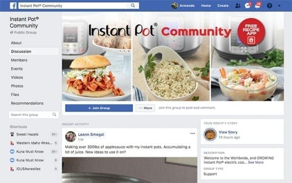 The Instant Pot Community has more than 1.5 million members sharing and consuming content that helps Instant Pot sell more.
