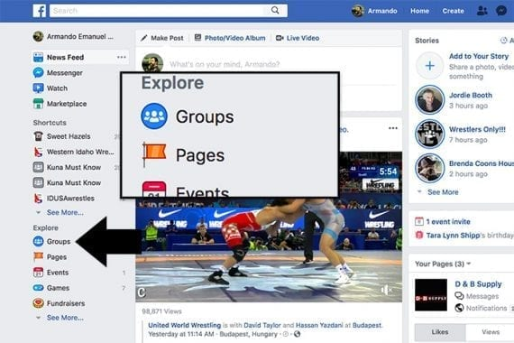 There are several ways to find Facebook groups. For example, if you are using the desktop version of Facebook, there is a link to groups on the left side of the page.