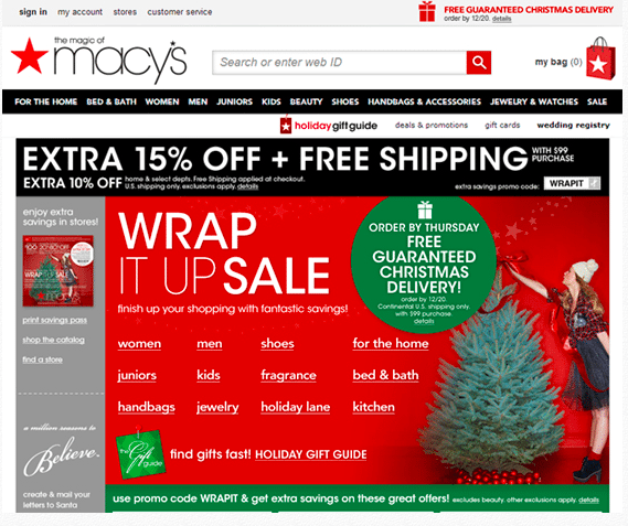 Macy's landing page captures the nostalgic holiday feeling.