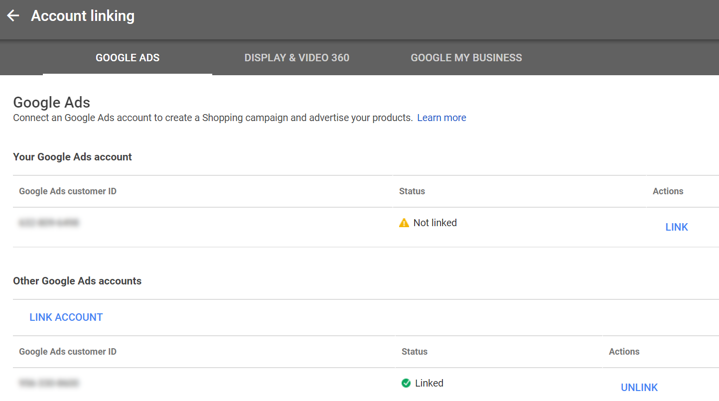 "Link your Merchant Center and Google Ads accounts using the ""Account linking"" menu option."