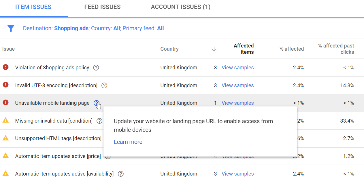 Warnings and disapprovals can include Google Shopping policy violations, no mobile landing page, and missing data