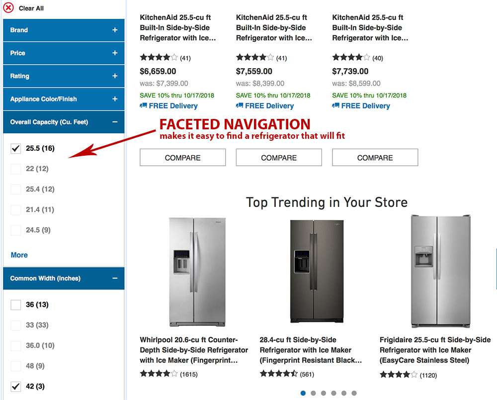 Lowe's faceted navigation helps to find refrigerators based on size, dimensions, and finish.