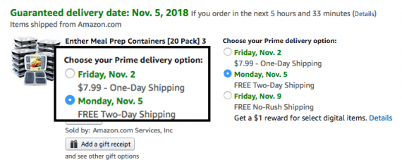 Amazon gives shoppers the option to pay for faster shipping.
