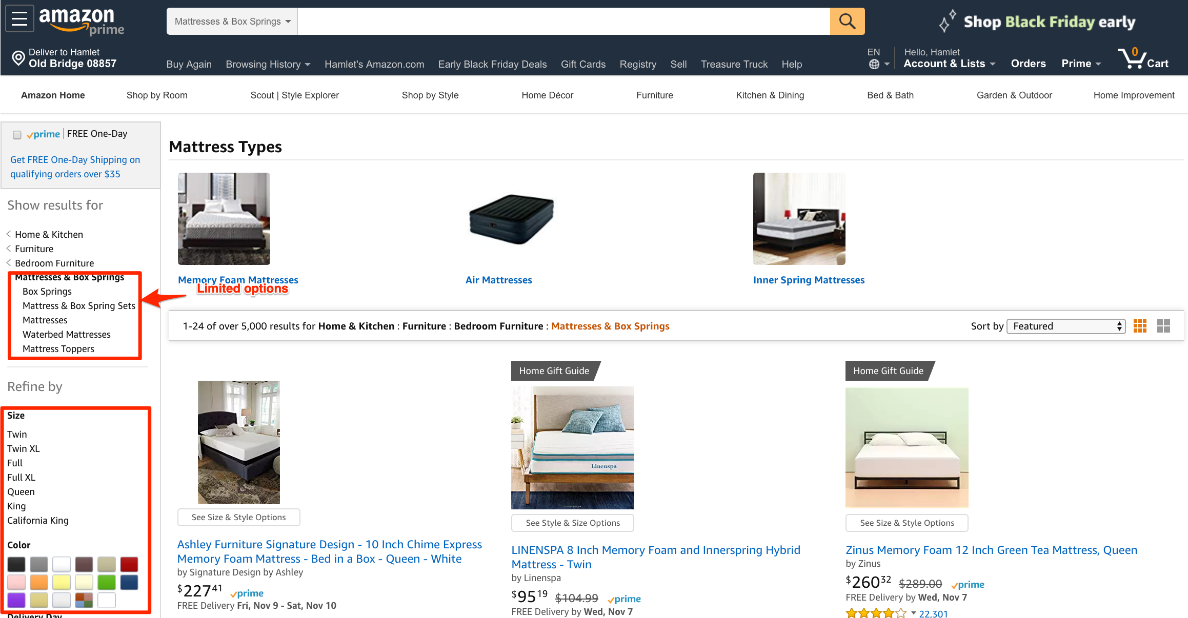 Amazon cannot provide the same sort of categories for mattresses as Wayfair. <em>Click image to enlarge.</em>