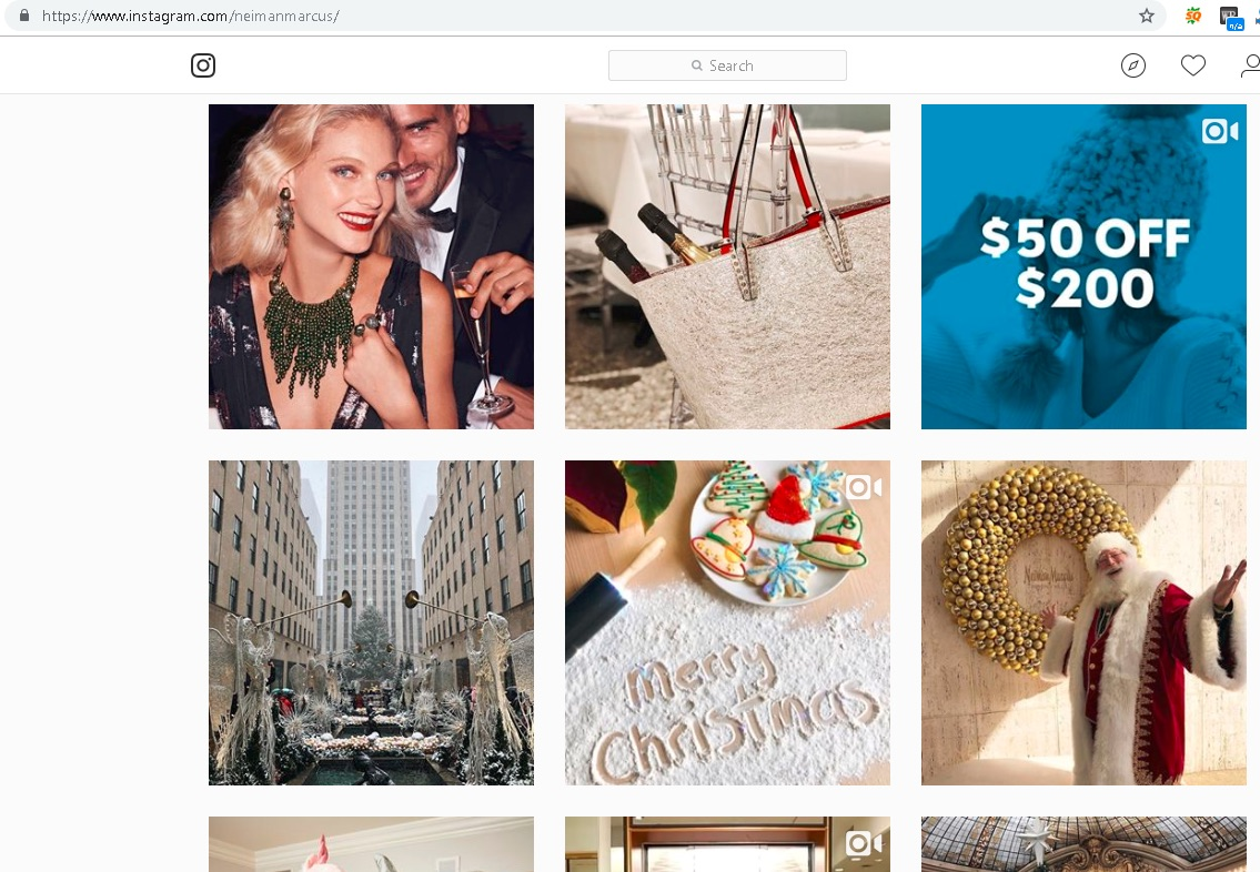 Neiman Marcus uses Instagram to inform shoppers of discounted products and unique holiday gifts.