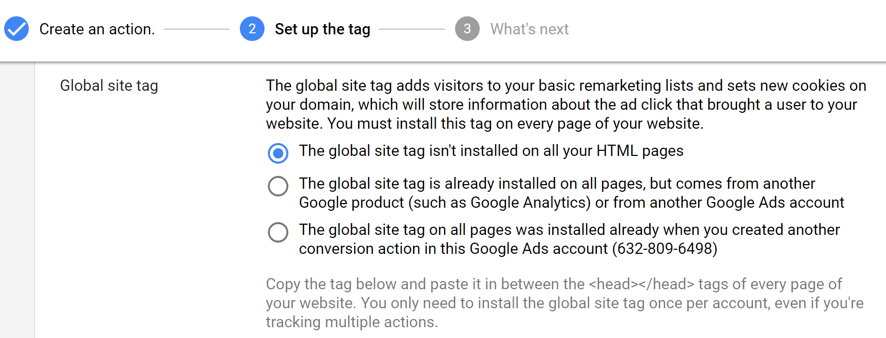 Choose the global site tag option.