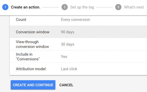 "Choose a 90-day conversion window and the default ""last-click"" attribution."