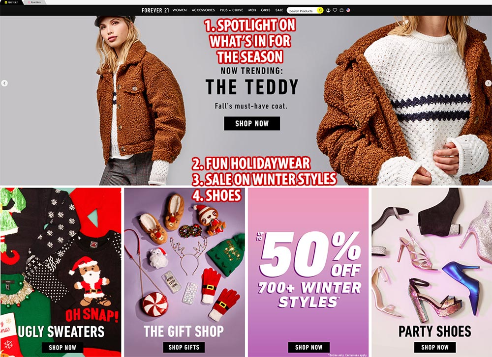 Forever 21 homepage focuses on what matters to its millennial customer base