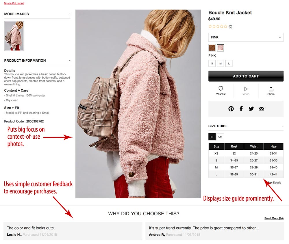 Forever 21's product page focuses on images. It also includes a sizing chart and customer feedback.