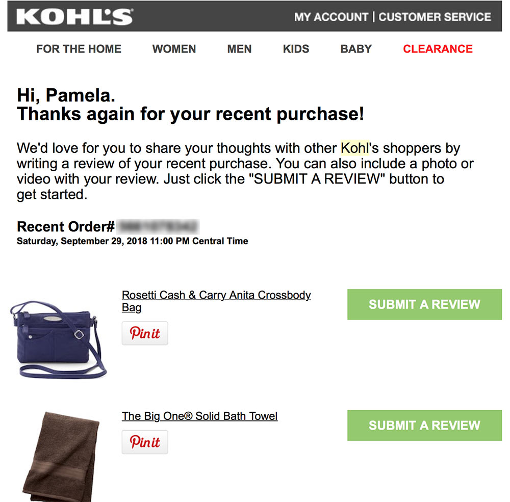Kohl's follow-up email for product reviews.