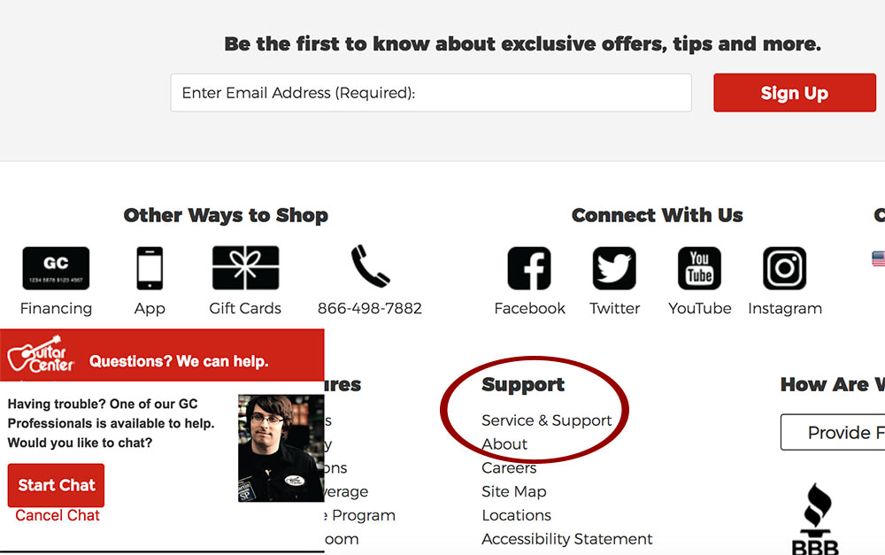 Guitar Center offers support via live chat, phone, social media channels and an online support section.