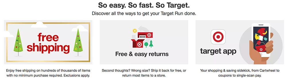 Screenshot of Target calling attention to easy returns.
