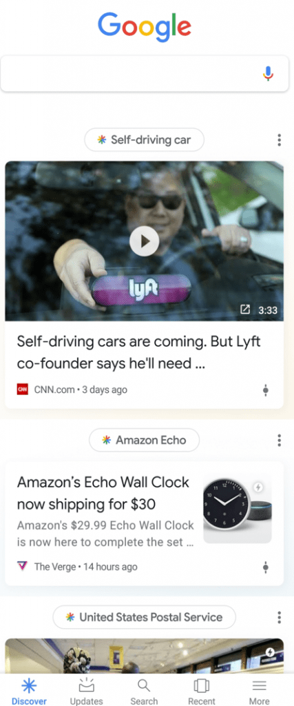 "Above each Discover card is a search phrase that Google has algorithmically customized to the user — ""Self-driving car"" in this example."