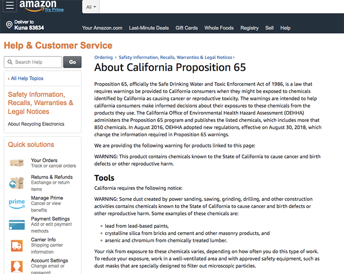 Amazon has consolidated Prop 65 warnings on a single page.