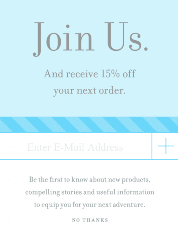 This Best Made pop-up makes two value appeals to potential email subscribers.