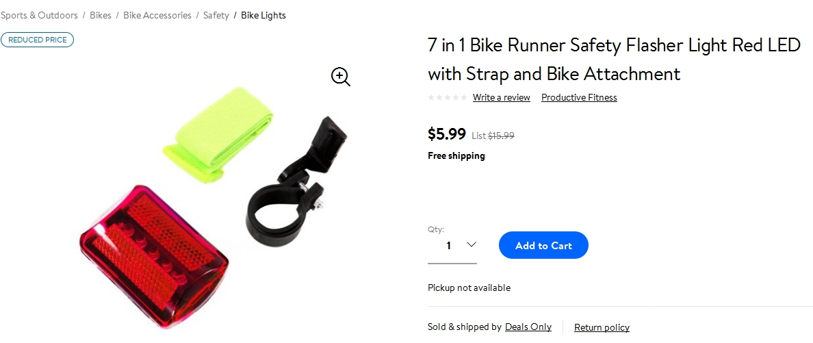 Walmart.com's listing for a bicycle safety light set does not include a description or any details.