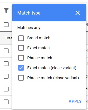 "Click on ""Search Terms"" in the top navigation. Then filter by match type and select ""Exact match (close variant)."""