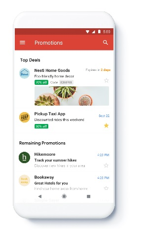 Gmail has started to reward certain companies with prominent placement in the Promotions tab. In this example, Nesti Home Goods and Pickup Taxi App are given top placement.