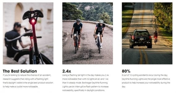 "TrekBikes.com introduces its bicycle safety lights with ""why this"" text, along with illustrations showing the lights in use."