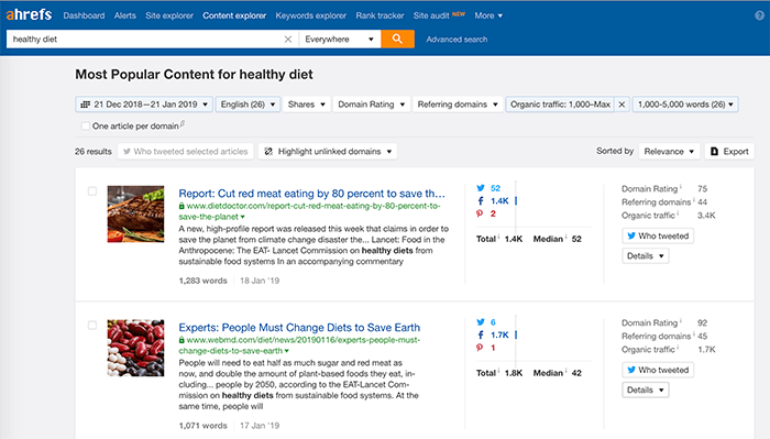 Ahrefs helps you find some of the most visited and shared content for a topic.