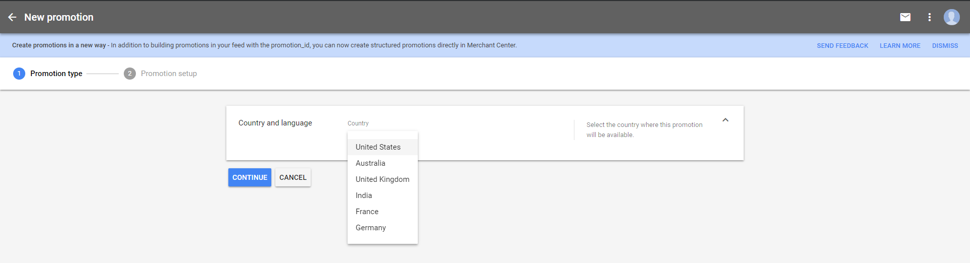 The first step of the Merchant Promotions setup wizard is to identify your country and language. Click image to enlarge.