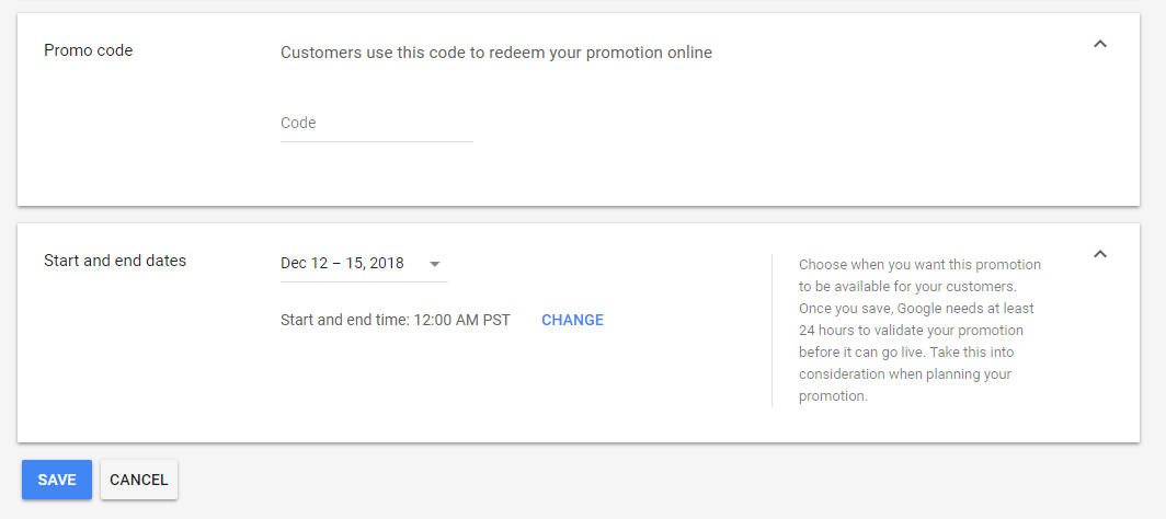 Add a promo code and set the date range.