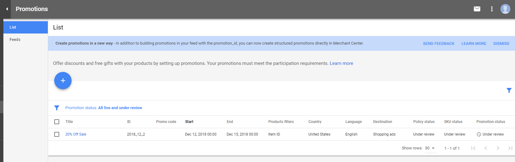 Once set up, your promotions should be listed inside the Google Merchant Center.