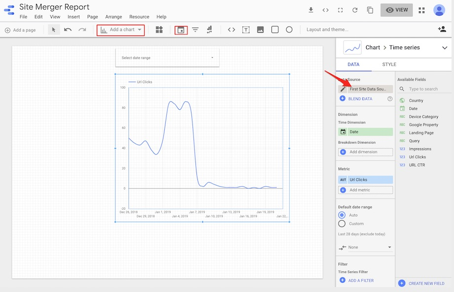 Select the date and chart to your report canvas to display the URL clicks to the first site.