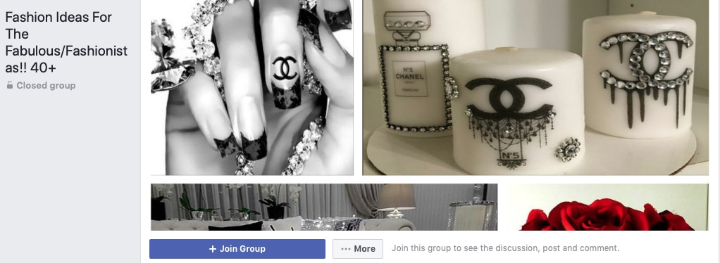 Advertising options for smaller fashion and lifestyle merchants include influencer marketing, such as on Facebook Groups. This example group focuses on fashion ideas for females over 40.