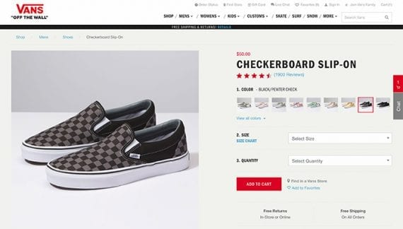 This Vans product detail page includes many links. Googlebot will follow these links to discover other pages.