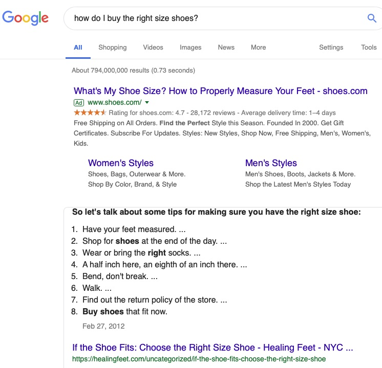 "Addressing a question — such as ""how do I buy the right shoe size?"" — increases the chances of earning Google's coveted Answer Boxes in position zero."