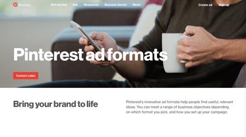 Pinterest ad formats.