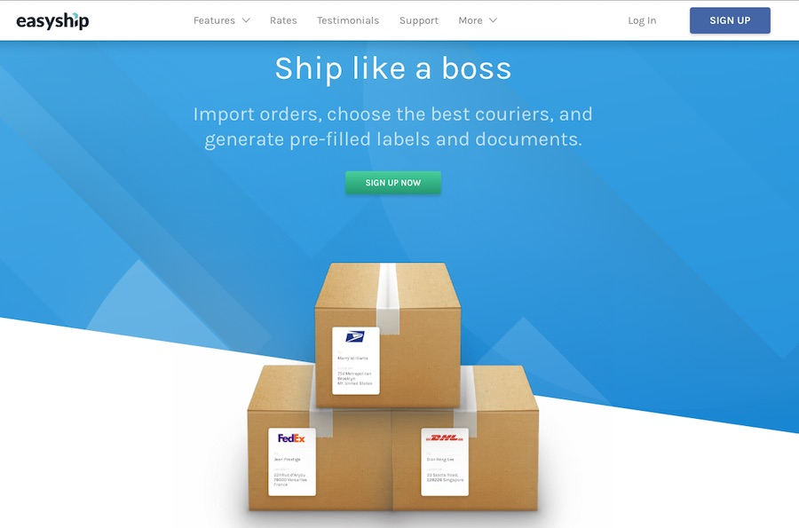 Easyship offers more than 100 shipping services from couriers such as DHL, FedEx, USPS and UPS at discounted prices.  <em>C9lick to enlarge.)</em>