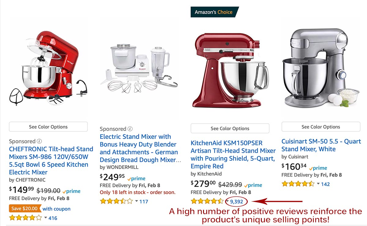Comparison of KitchenAid price versus competitors
