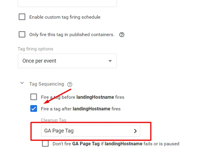 Setup this tag before your page tracking code.