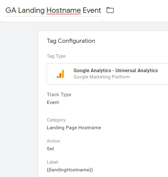 Landing Page Hostname tag configuration.