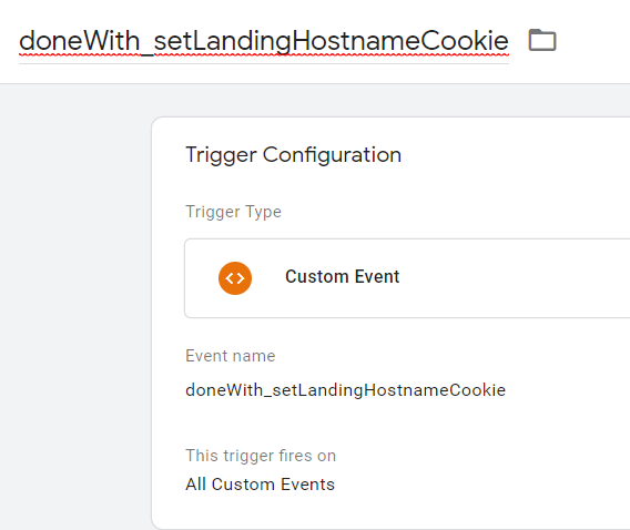 The setup for a Custom Events trigger.