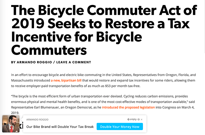 Sniply could create a frame displaying the content of an article about tax breaks for bicycle commuters and then place an ad in the lower left corner of the frame, potentially sending readers to another website.