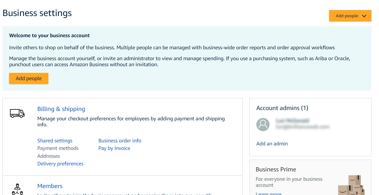Amazon Business allows a company to add people to its account with different permission levels.