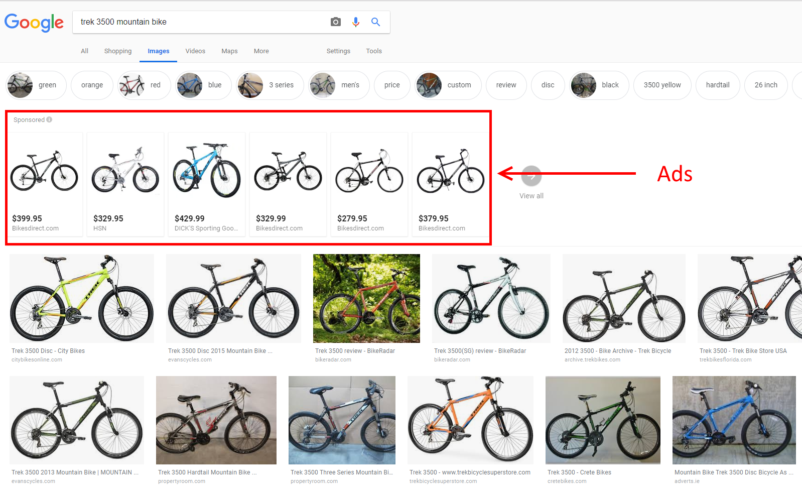 Shopping ads and organic listings are nearly identical in a SERP in Google Images for a Trek 3500 mountain bike. Click image to enlarge.