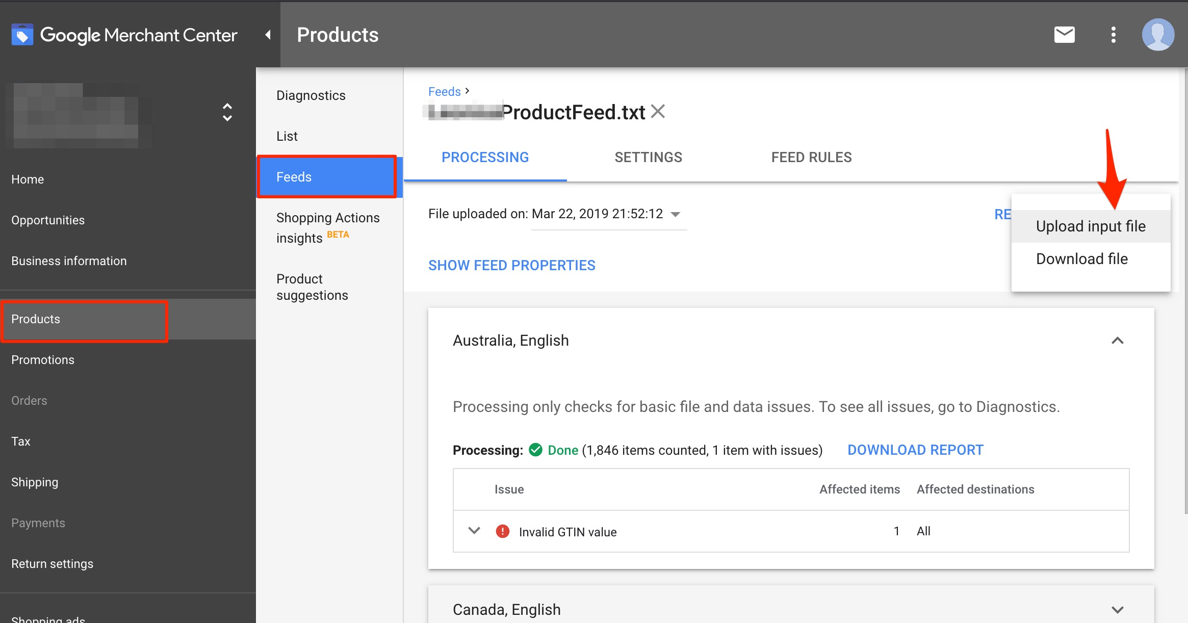 Another way to identify existing Shopping URL parameters is to download the product feed in Google Merchant Center. Click image to enlarge.