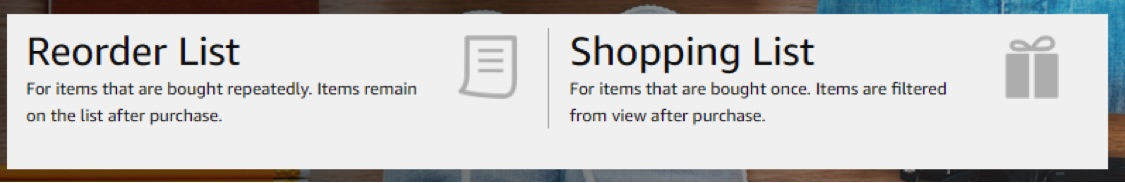 Customers of Amazon Business can create Reorder Lists and Shopping Lists.