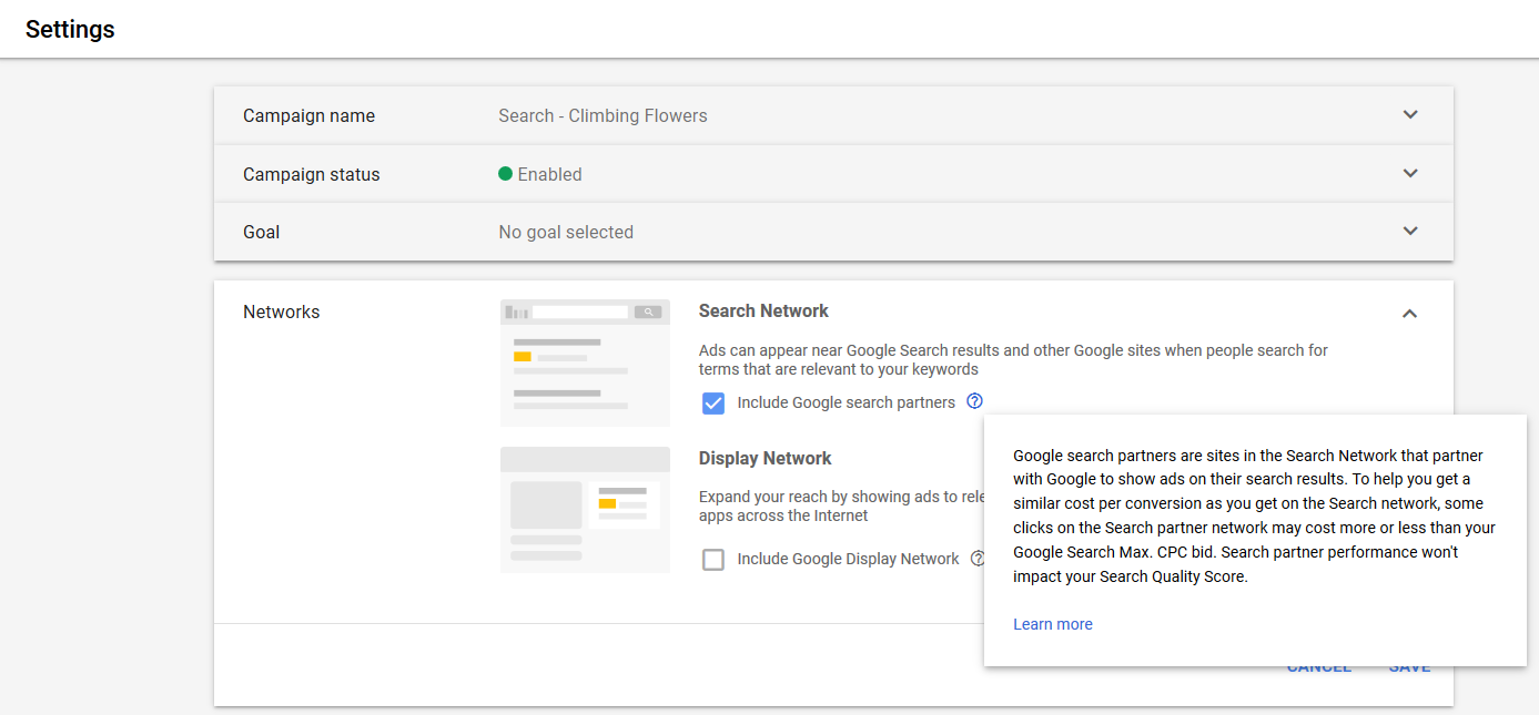 Google provides advertisers the option of opting out of Search Partners. Click image to enlarge.