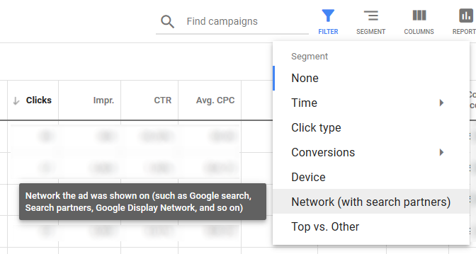 Advertisers can segment performance by network to see how their clicks perform on Google Search versus Search Partners.