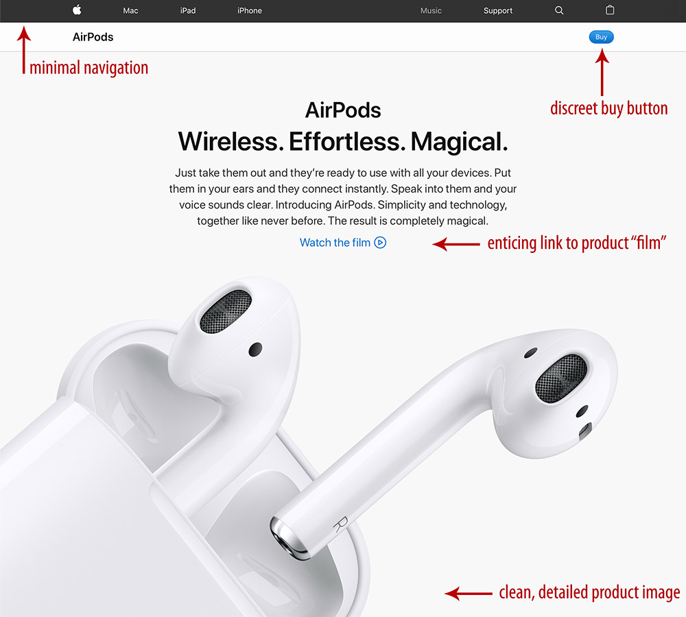 Página de destino do Apple AirPods