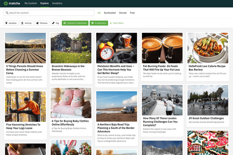 Discover and publish professionally written blog content in just a few clicks with Matcha.