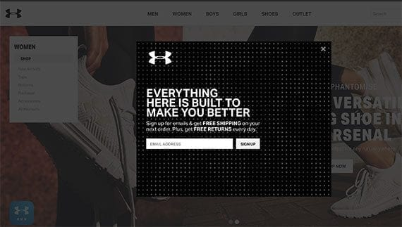 Like many leading fitness clothing brands, the Under Armour online store emphasizes email marketing and collecting email addresses.