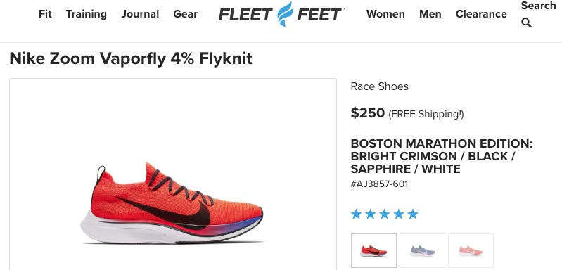 Unique product descriptions avoid duplicate content and thus help brands and retailers rank on search results. Retailer Fleet Feet created its own description of Nike's Zoom Vaporfly 4% Flyknit running shoe, enabling it to rank on page one.