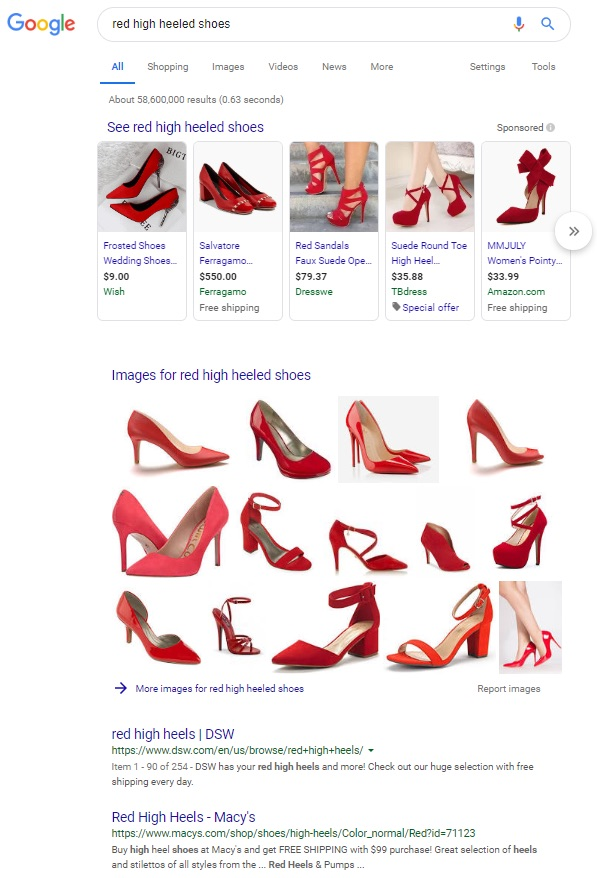 "Google search results for ""red high heeled shoes"" includes a grid of 14 images"