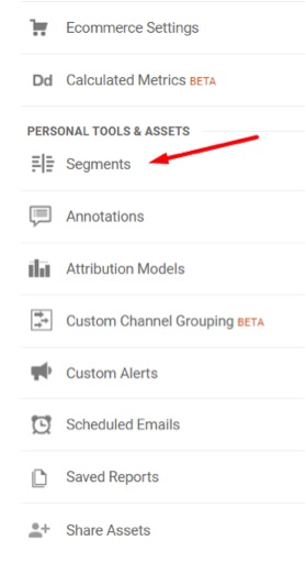 "Add advanced segments by going to the same ""View"" column and clicking ""Segments."""